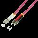 LogiLink FP4LT07 7.5m LC-ST Fibre Optic Cable OM4, Multi Mode Duplex, Pink